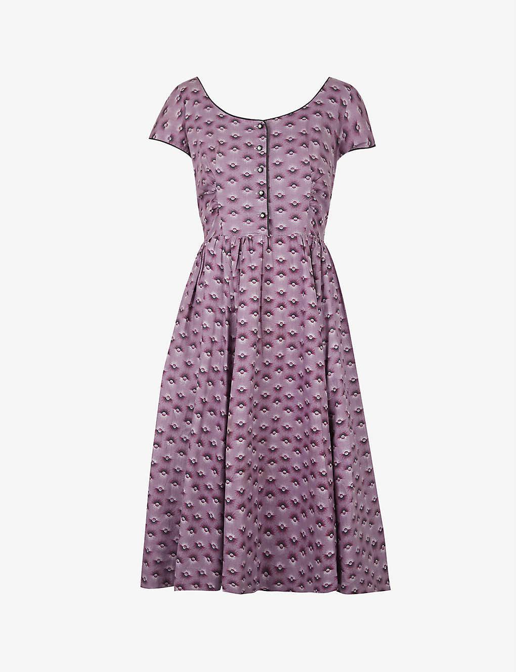 Pre-loved 1950s graphic-print poplin midi dress