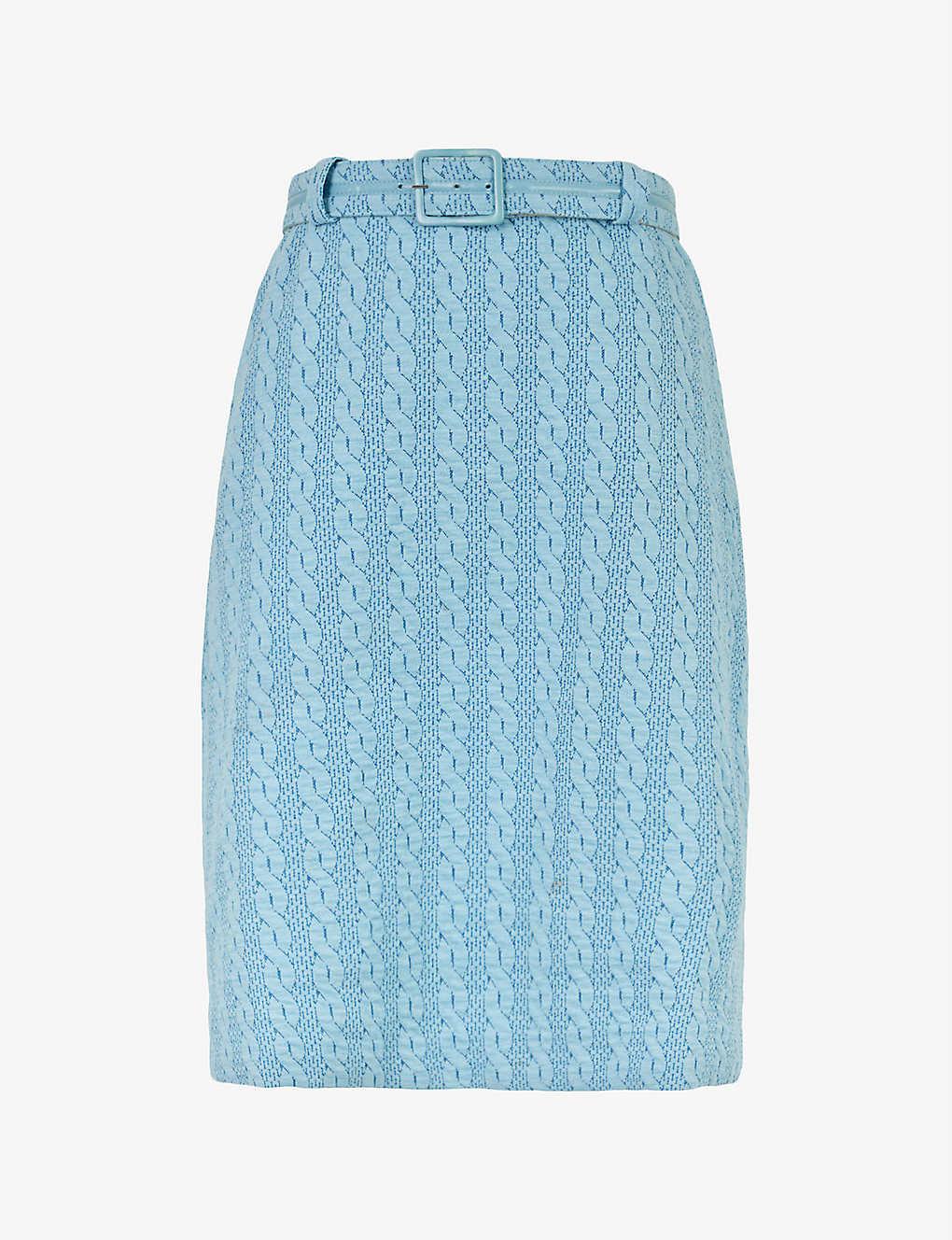 Pre-loved high-waisted woven midi skirt