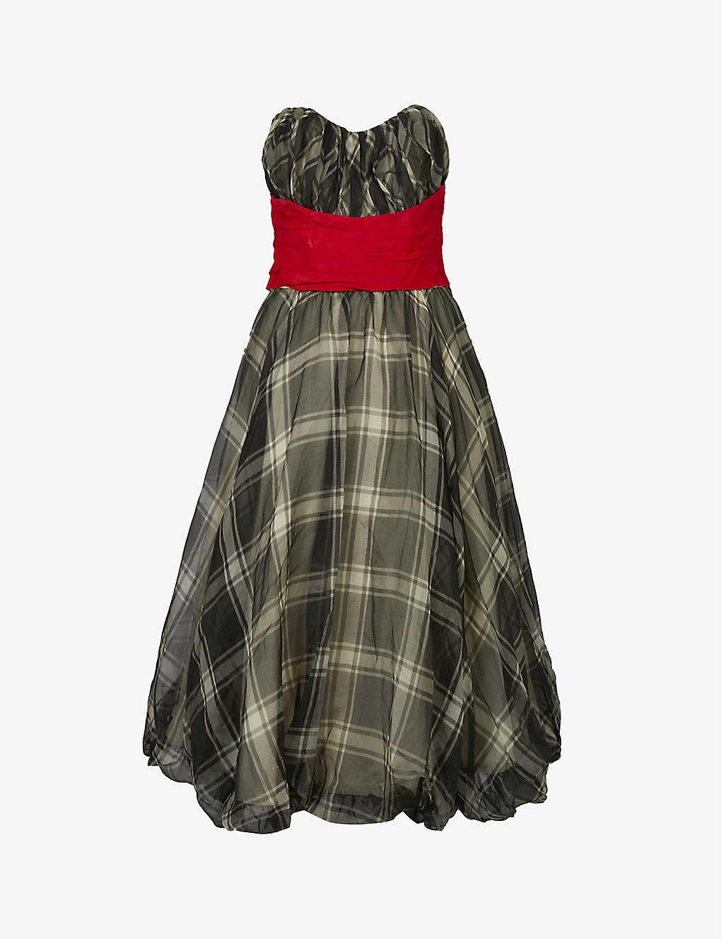 Pre-loved 1950s checked chiffon midi dress