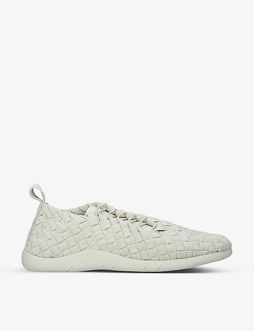 BOTTEGA VENETA: Plat metallic-woven and nappa-leather low-top trainers
