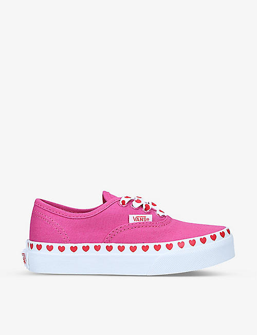 VANS: Old Skool heart-print canvas and leather trainers 2-5 years