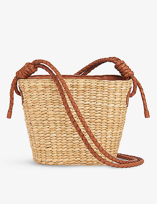 WHISTLES: Lyra braided leather and straw tote bag