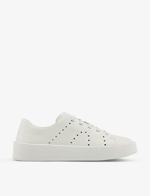 CAMPER: Courb grained-leather low-top trainers
