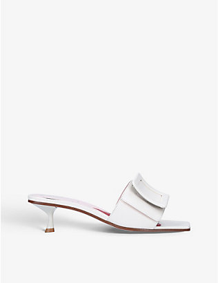 ROGER VIVIER: Covered Buckle leather mules