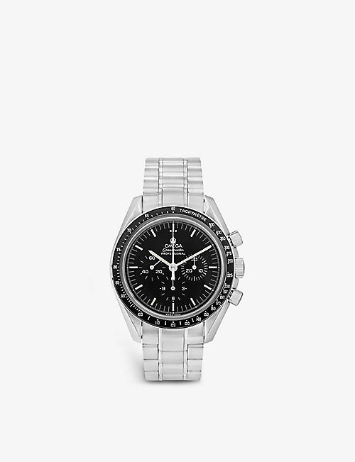 BUCHERER CERTIFIED PRE OWNED: Pre-loved Omega 3570.50.00 Speedmaster Chronograph Moonwatch stainless steel automatic watch
