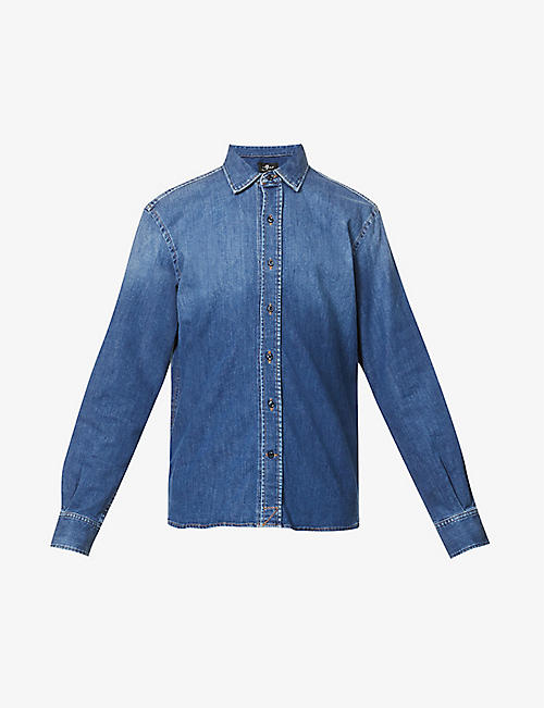 7 FOR ALL MANKIND: Faded-wash stretch-denim shirt