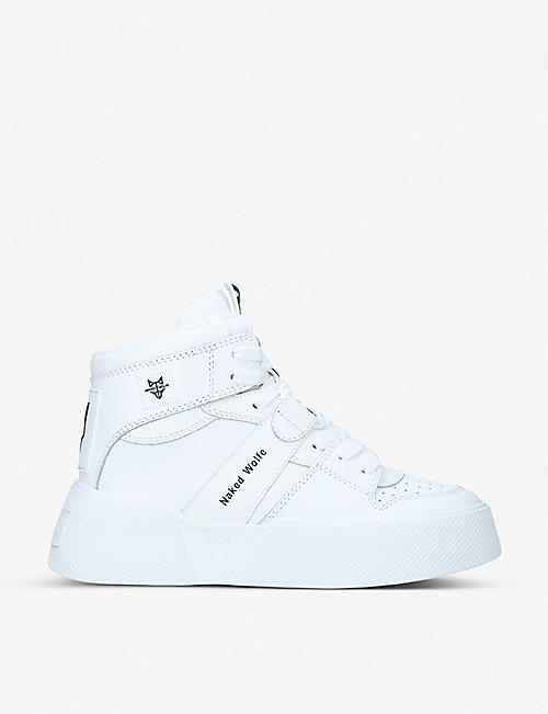 NAKED WOLFE: Phantom leather high-top trainers