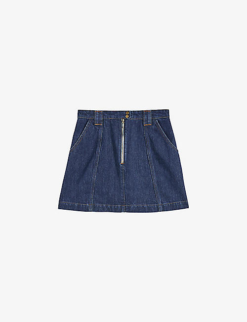 TED BAKER: Herio zipped denim mini skirt