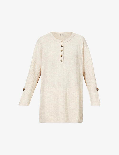 FREE PEOPLE: Around the Clock button-up longline stretch-knit jumper