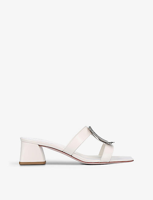 ROGER VIVIER: Bikviv' buckle-embellished leather heeled mules