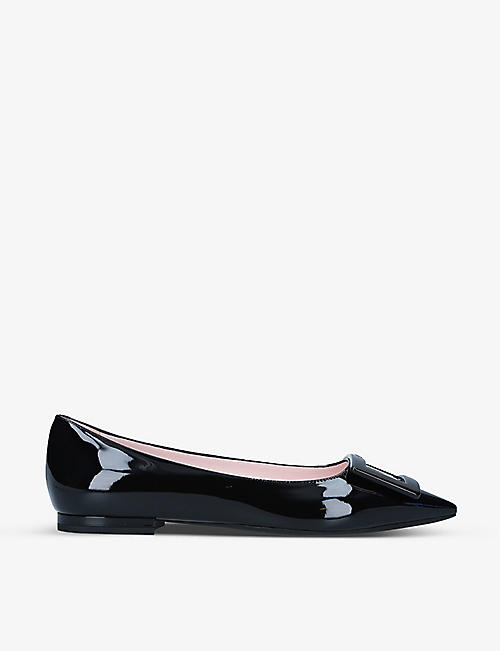 ROGER VIVIER: Gommettine embellished leather ballet flats