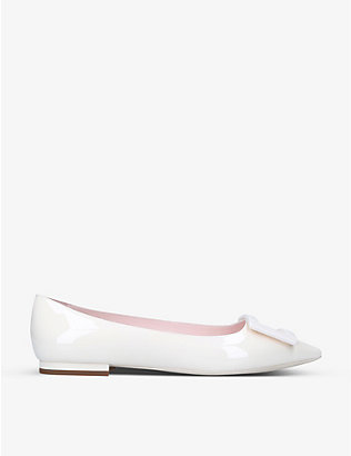 ROGER VIVIER: Gommettine Ball buckle-embellished leather ballet flats