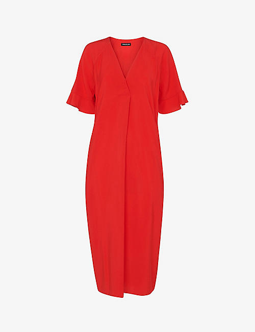 WHISTLES: Alba V-neck woven midi dress
