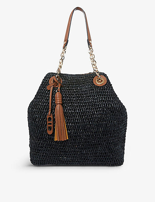 DUNE: Destination logo-embossed raffia woven tote bag