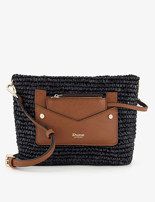 DUNE: Davenporte raffia and leather cross-body bag