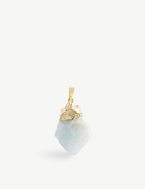 CRYSTAL HAZE: 18ct yellow gold-plated brass and aquamarine stone pendant