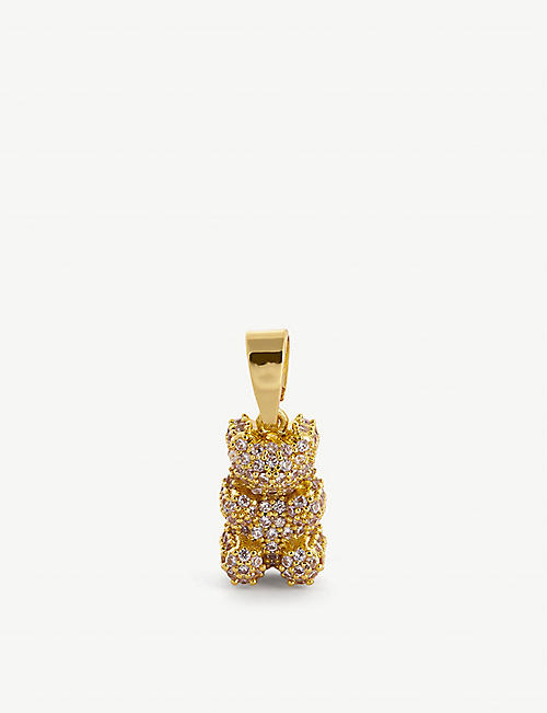 CRYSTAL HAZE: Nostalgia bear-shaped 18ct yellow gold-plated brass and cubic zirconia charm