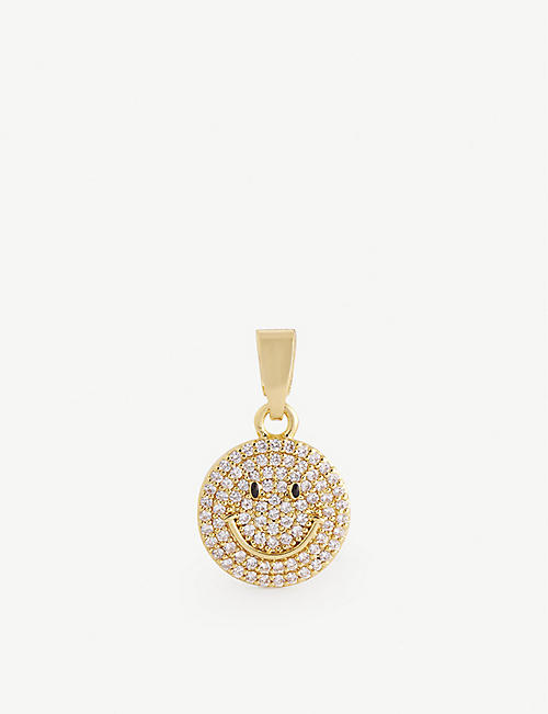 CRYSTAL HAZE: Ms. Vaxxine 18ct gold-plated brass and cubic zirconia charm