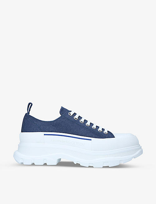ALEXANDER MCQUEEN: Men's Tread Slick denim low-top trainers
