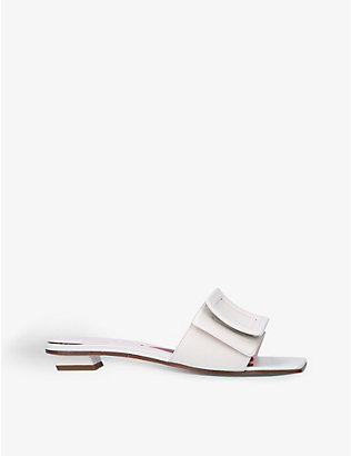 ROGER VIVIER: Covered buckled leather heeled mules