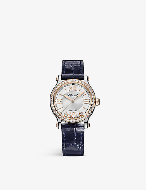 CHOPARD: 278608-6003 Happy Sport 18-carat rose-gold, stainless-steel and 1.49ct brilliant-cut diamond automatic watch