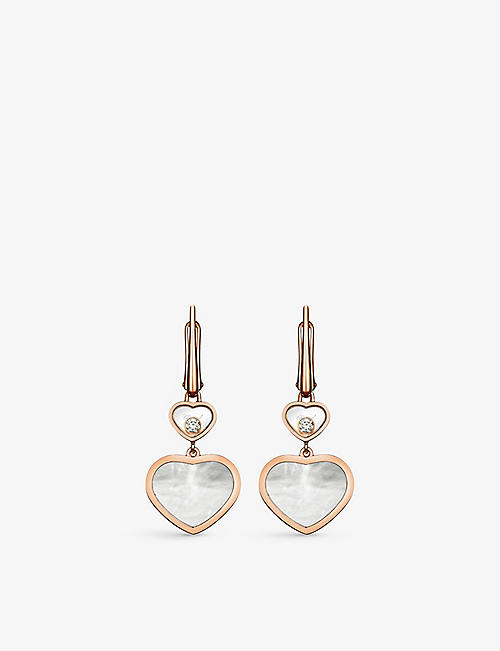 CHOPARD: Happy Hearts 18ct rose-gold, 0.10ct diamond and mother-of-pearl earrings