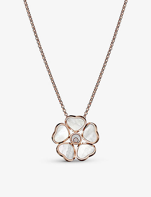 CHOPARD: Happy Hearts Flower 18ct rose-gold, 0.05ct diamond and mother-of-pearl necklace