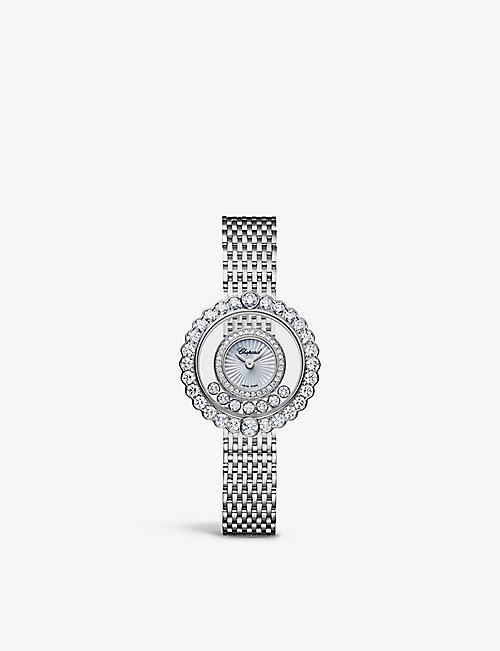 CHOPARD: 204180-1201 Happy Diamonds 18ct white-gold, 2.54ct full-cut diamond and alligator-embossed leather quartz watch
