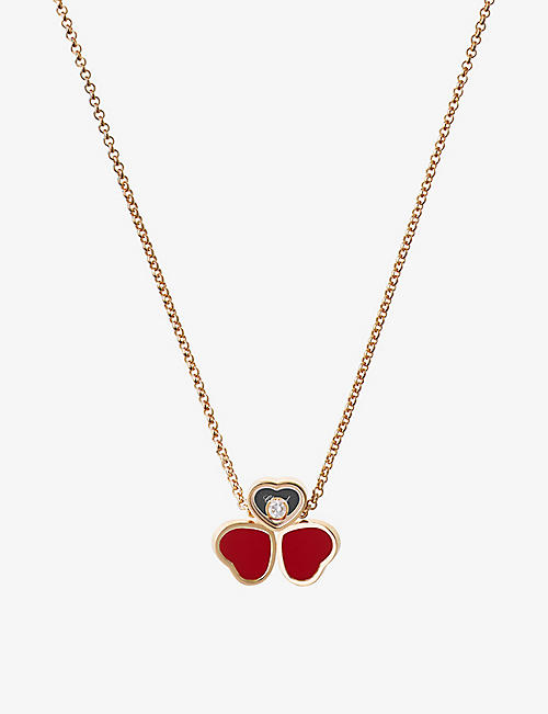 CHOPARD: Happy Hearts Wings 18ct rose-gold, 0.05ct brilliant-cut diamond and red-stone necklace
