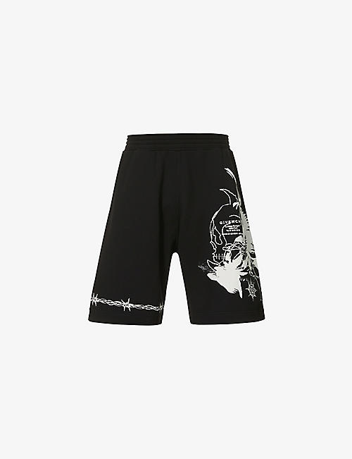 GIVENCHY: Gothic-print cotton-jersey shorts