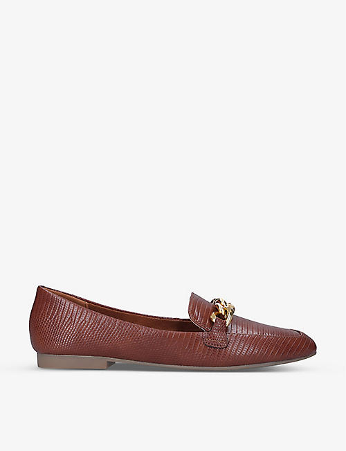 STEVE MADDEN: Kayson chain-detail leather loafers