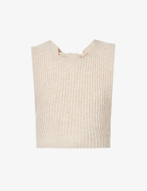 GANNI: Sleeveless recycled wool and recycled polyamide-blend top