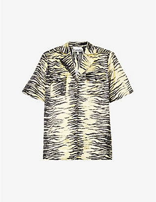 GANNI: Tiger-print short-sleeved satin-crepe shirt