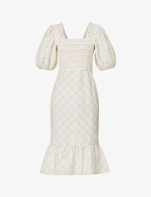 GANNI: Checked organic cotton and recycled polyester-blend midi dress