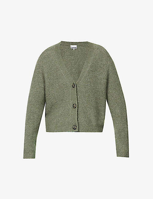 GANNI: Ribbed knitted cardigan