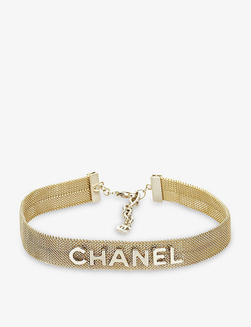 RESELLFRIDGES: Pre-loved Chanel gold-tone brass mesh choker