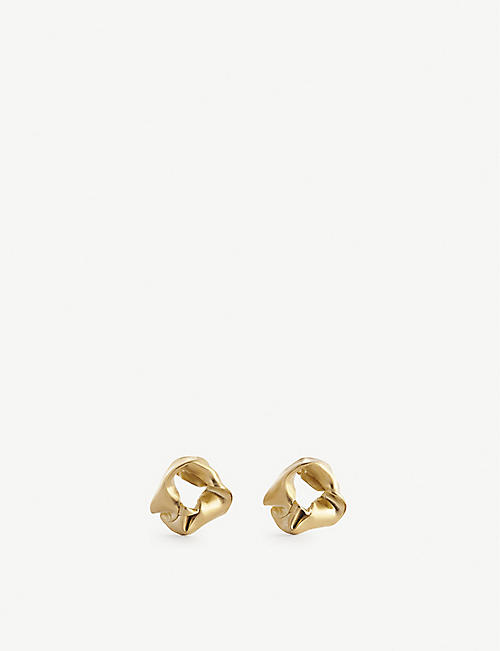 COMPLETEDWORKS: Scrunchie small 14ct gold-plated sterling-silver earrings