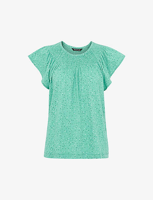 WHISTLES: Blade floral-print cotton top