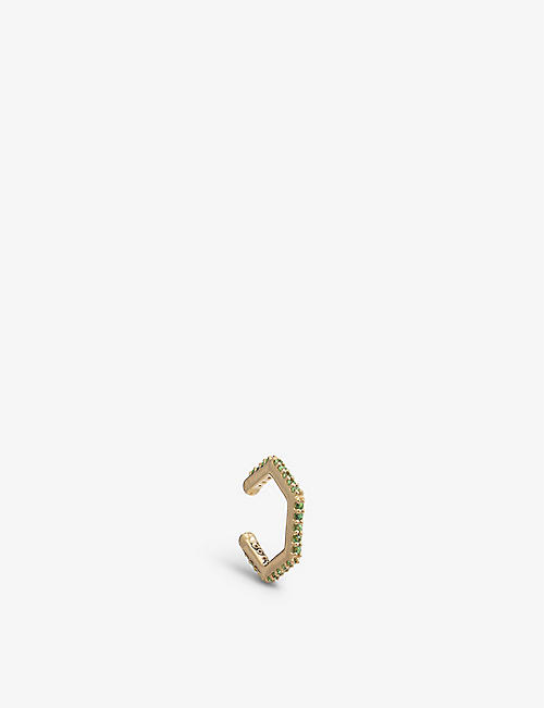 RACHEL JACKSON: Hexagonal 22ct yellow gold-plated sterling-silver and green tsavorite single ear cuff