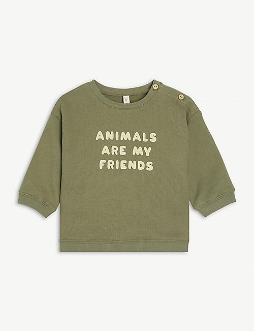 ORGANIC ZOO: Animal slogan-print organic-cotton sweatshirt 0 months – 4 years