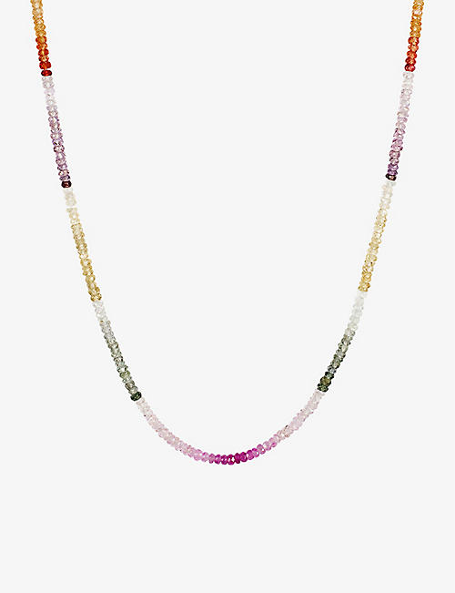 ROXANNE FIRST: Graduated Rainbow sapphire and 14ct gold beaded necklace
