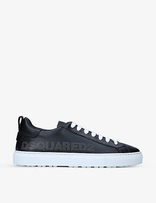 DSQUARED2: Logo-print low-top leather trainers
