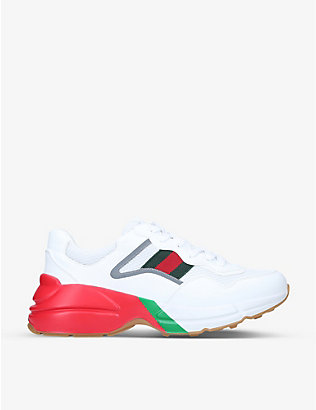 GUCCI: Men's Rhyton striped leather low-top trainers