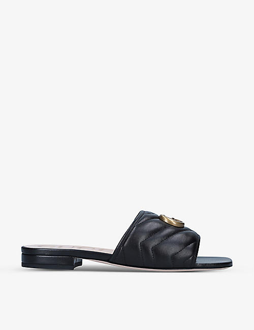 GUCCI: Jolie GG-embellished leather heeled mules