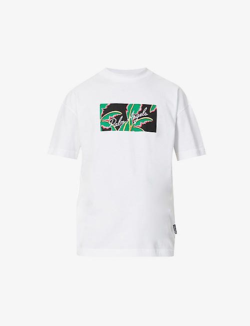 PALM ANGELS: Tropical-print cotton-jersey T-shirt