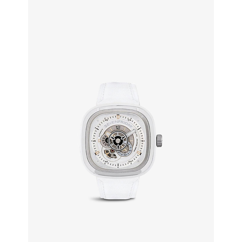 SEVEN FRIDAY P1C/01 ENGINE STAINLESS-STEEL AND LEATHER QUARTZ WATCH
