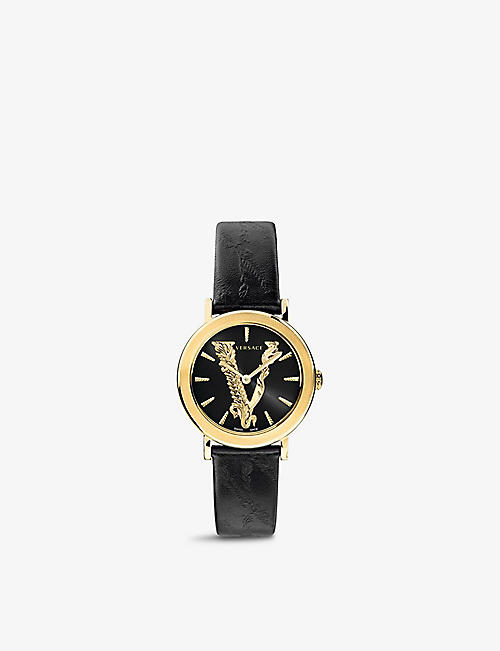 VERSACE: VEHC00119 Virtus 18ct yellow gold-plated stainless-steel and leather quartz watch