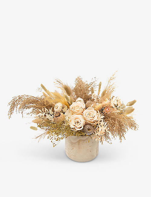 YOUR LONDON FLORIST: Low dried flower table centrepiece with pot