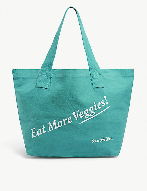 SPORTY & RICH:Eat More Veggies标语印花帆布手提袋