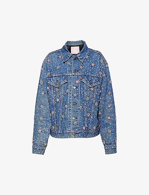 MIU MIU: Upcycled by Miu Miu x Levi's crystal embellished denim jacket